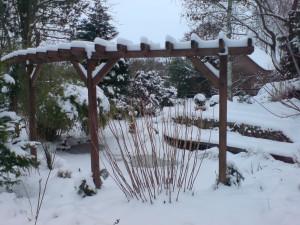 Teich mit Pergola schneebedeckt